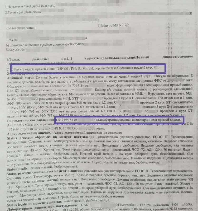 Диагноз в Казастане рак прямой кишки 4 стадия