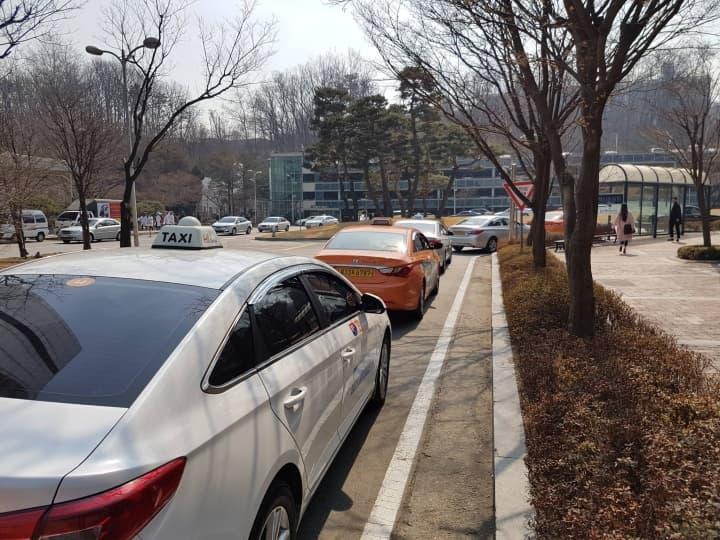 Кроме того, у входа есть остановка такси, где всегда стоят несколько машин в ожидании клиентов.
